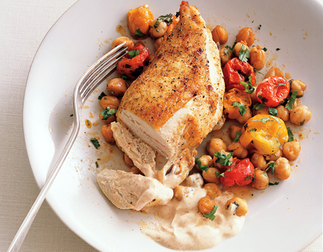 Moroccan Chicken with Roasted Toms and Garbanzo Beans